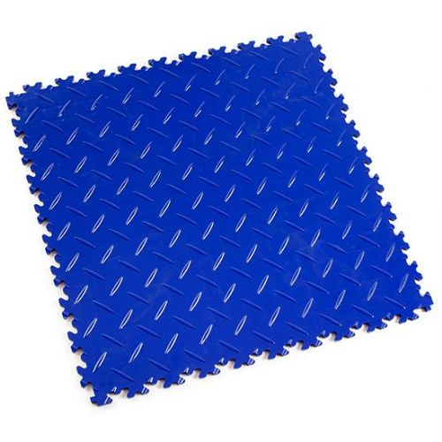 Blue Diamond Plate - Motolock Interlocking Floor Tile